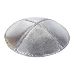 Silver Leather Yarmulkes in Bulk