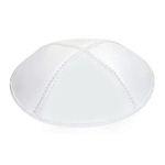 White Leather Yarmulke in Bulk